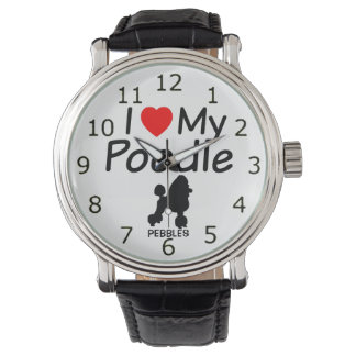 I Love My Poodle Dog Wristwatches