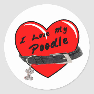 I Love My Poodle Heart with Dog Collar Round Stickers