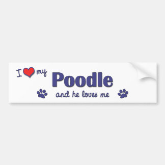 I Love My Poodle (Male Dog) Bumper Sticker