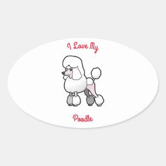 I Love My Poodle Oval Sticker
