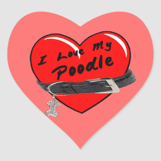 I Love My Poodle Red Heart with Dog Collar Heart Sticker