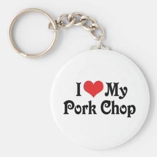I Love My Pork Chop Basic Round Button Key Ring