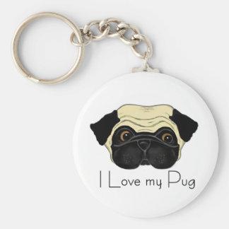 I Love my Pug Basic Round Button Key Ring