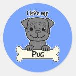 I Love My Pug Classic Round Sticker