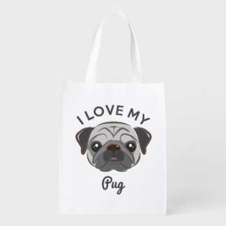 """I Love My Pug"" Reusable Grocery Tote"