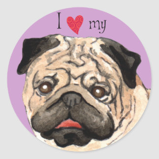 I Love my Pug Round Sticker