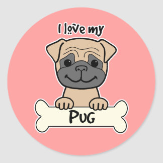 I Love My Pug Round Stickers