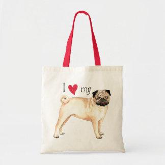 I Love my Pug Tote Bags