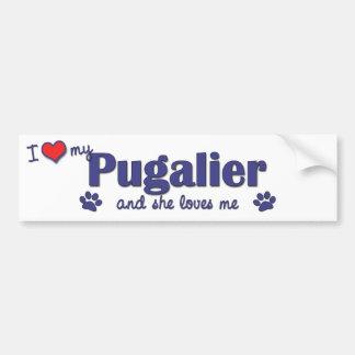I Love My Pugalier Female Dog Bumper Stickers