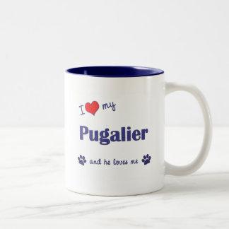 I Love My Pugalier (Male Dog) Two-Tone Coffee Mug