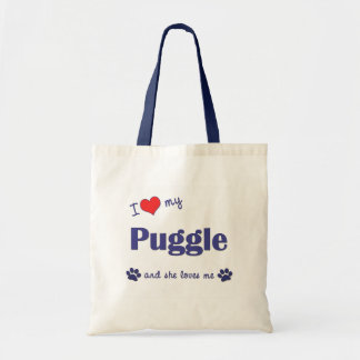 I Love My Puggle (Female Dog) Budget Tote Bag