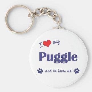 I Love My Puggle (Male Dog) Key Ring