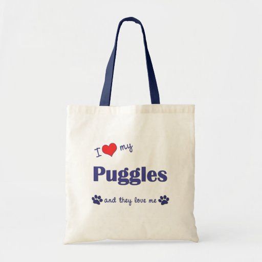 I Love My Puggles (Multiple Dogs) Canvas Bags