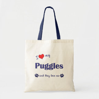 I Love My Puggles (Multiple Dogs) Budget Tote Bag