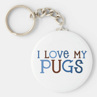 I Love My Pugs keychain