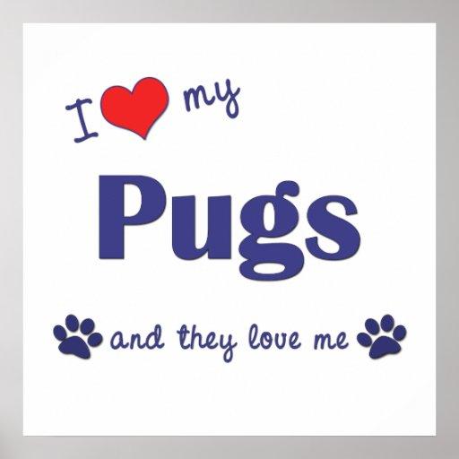 I Love My Pugs (Multiple Dogs) Print