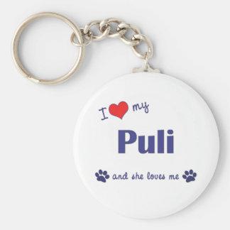 I Love My Puli (Female Dog) Basic Round Button Key Ring