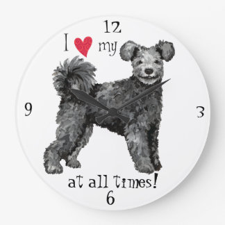 I Love my Pumi Large Clock