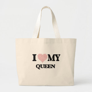 I love my Queen (Heart Made from Words) Jumbo Tote Bag