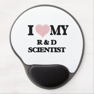 I love my R & D Scientist (Heart Made from Words) Gel Mouse Pad