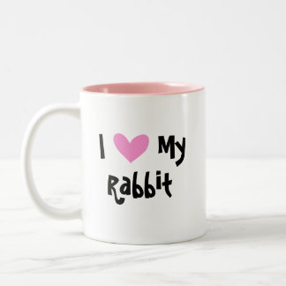 I Love My Rabbit (uppy ear smooth hair) Two-Tone Coffee Mug