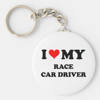 I Love My Race Car Driver Basic Round Button Key Ring