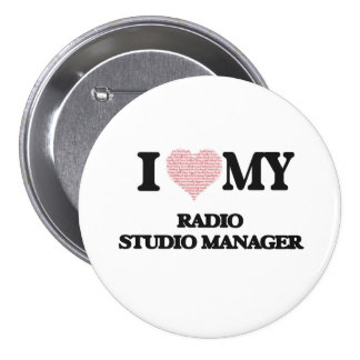 I love my Radio Studio Manager (Heart Made from Wo 7.5 Cm Round Badge