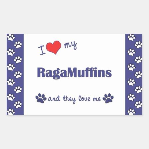 I Love My RagaMuffins (Multiple Cats) Rectangular Sticker