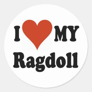 I Love My Ragdoll Cat Merchandise Round Sticker