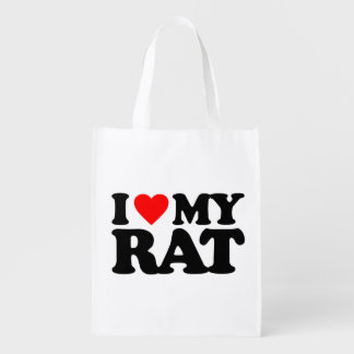 I LOVE MY RAT REUSABLE GROCERY BAG