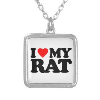 I LOVE MY RAT SQUARE PENDANT NECKLACE