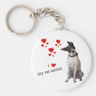 I Love my Rat Terrier Key Ring
