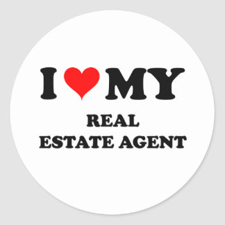 I Love My Real Estate Agent Round Stickers