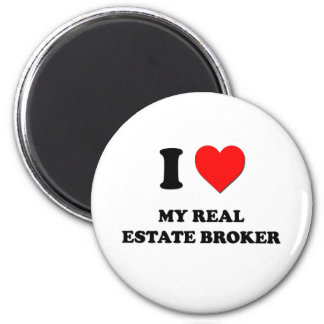 I love My Real Estate Broker 6 Cm Round Magnet