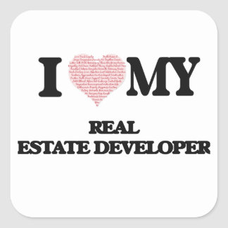 I love my Real Estate Developer (Heart Made from W Square Sticker