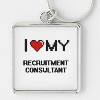 I love my Recruitment Consultant Silver-Colored Square Key Ring