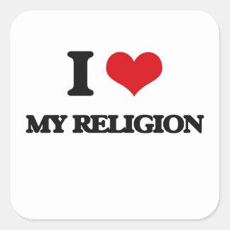 I Love My Religion Square Stickers