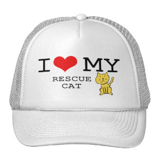 I Love My Rescue Cat Hat