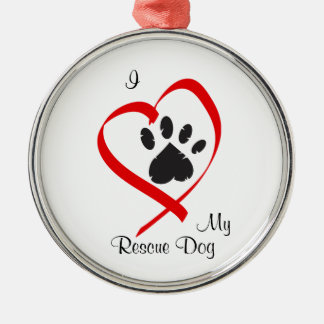 I Love My Rescue Dog Color Ornament