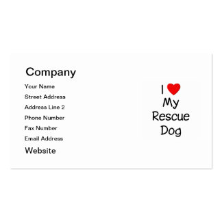 I Love My Rescue Dog Pack Of Standard Business Cards