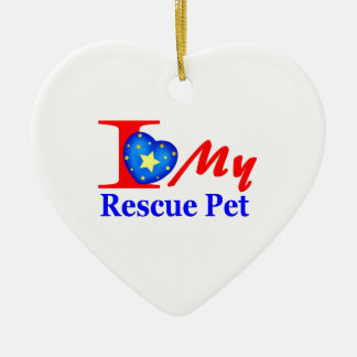 "I Love My Rescue Pet ""Heroes4Rescue"" Christmas Ornament"