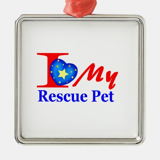"""I Love My Rescue Pet """"Heroes4Rescue"""" Christmas Ornaments"""