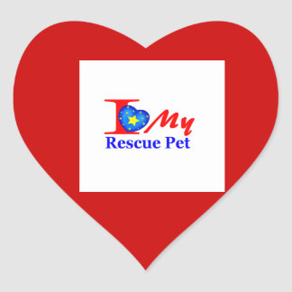 "I Love My Rescue Pet ""Heroes4Rescue"" Heart Sticker"