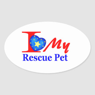"I Love My Rescue Pet ""Heroes4Rescue"" Oval Sticker"