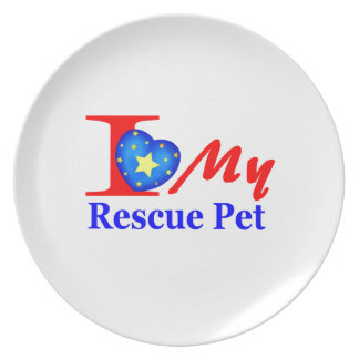"I Love My Rescue Pet ""Heroes4Rescue"" Plate"