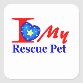 "I Love My Rescue Pet ""Heroes4Rescue"" Square Sticker"