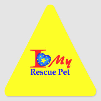 "I Love My Rescue Pet ""Heroes4Rescue"" Triangle Sticker"