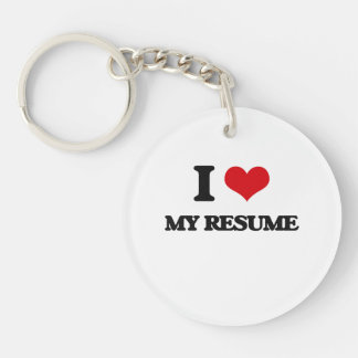 I Love My Resume Acrylic Keychain