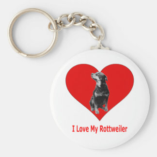I Love My Rottweiler Basic Round Button Key Ring
