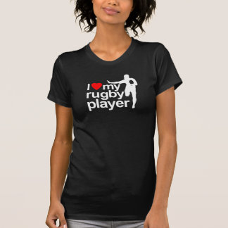 I Love My Rugby Player Black Tee Shirt